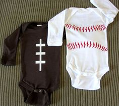 Football and Baseball Onesie Newborn LongSleeve by TheGALShop, $28.00.  I'm thinking I could easily make these, much cheaper, the baseball one for for!
