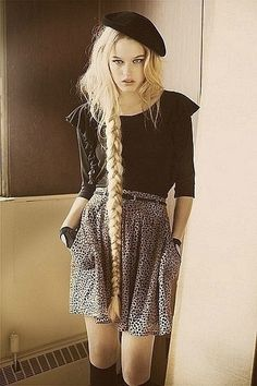 Rapunzel long messy side braid