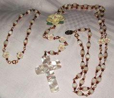 Adjustable GP Mother of Pearl & Porcelain Rose Rosary & Anklet