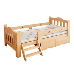 木製子供のベッドでフェンスシンプルモダー学生シングルベッド子供の家具ベビーベッド丈夫なパインウッドベッドではしご