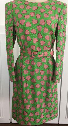 Flawless 1990s Carolina Herrera Silk Pink Hearts Day Dress—Size  US 8 (10619CL). by LipstickGirlVintage on Etsy