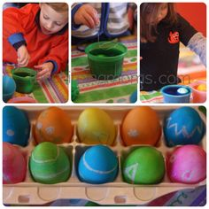 """Surprise Eggs"": This is a fun twist on dying eggs. After you boil the eggs, write on them or draw pictures with crayons. Then, when the kids dye them, the designs pop up like magic."