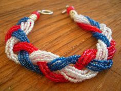 Red White and Blue Braided Seed Bead by StellaMagiaDesigns on Etsy, $20.00