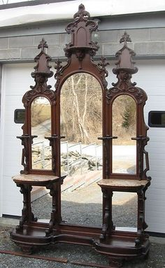 Victorian Walnut Entry Hall Mirror | eBay