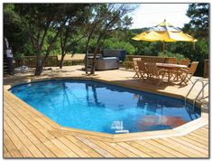 Check out some pictures of customer built decking (full decking) around there above ground pool! Here you can get an idea of what your backyard can become! #ovalpooldeckideas