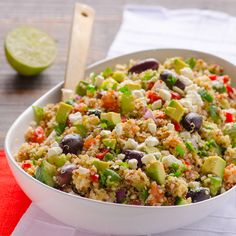 Mediterranean Quinoa Salad Recipe -- Simple and clean quinoa salad recipe with tomatoes, cucumbers, feta and olives. No oil.