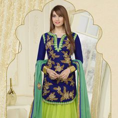 Shaded Neon Green and Teal Green Net Lehenga Choli with Dupatta