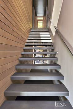 Dark-Stained Cedar Siding And Copper Panels Cover The Exterior Of This Mercer Island House Modern Staircase, Staircase Design, Staircase Ideas, Renovation Cuir, Washington, Steel Stairs, Cedar Siding, Exterior Siding, Two Storey House