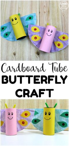 Toilet Roll Butterfly Craft - Look! We're Learning!, Make this simple cardboard tube butterfly craft as a quick spring art project for kids! Great for small groups in the classroom or crafting at home! At Home Crafts For Kids, Spring Crafts For Kids, Holiday Crafts For Kids, Craft Activities For Kids, Toddler Crafts, Preschool Crafts, Toddler Activities, Art For Kids, Insect Activities