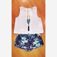 • Happy Thursday, it's almost Friday! •  Here is todays look: White Cropped Tank // Tropical Printed Shorts // Teal and Navy Tassel Necklace  #shoplocal #shopfedora #fedoraboutique