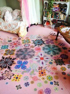 Painted Wooden Floor with decoupage flowers in girls bedroom - floor by Wynnie Crews