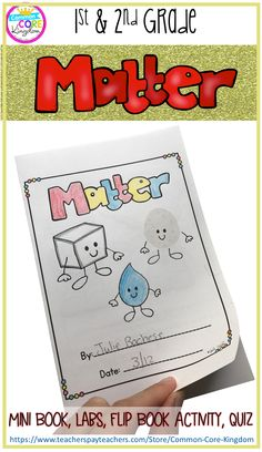 Are you looking for a fun and engaging way to teach your 1st or 2nd graders about the states of matter? This science mini unit includes a book, vocabulary cards, matter sort, lab experiments, and a quiz to teach first and second graders about solids, liquids, and gasses.