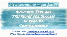 Presentation Title: Authentic Text and Strategies for Success in Reading Comprehension (Presenters: Lindsay Cira & Stacy Kolafa (School District of Waukesha) Reading Strategies, Reading Comprehension, Central States, School District, Milwaukee, Teaching Ideas, Conference, Literacy, Spanish