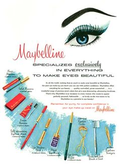 1960 Maybelline Magic Mascara, Solid Mascara and Cream Mascara (each in 4 shades); Self-sharpening Eyebrow Pencil shades); Vintage Makeup Ads, Vintage Nails, Retro Makeup, Vintage Beauty, Eye Makeup, Vintage Fashion, 1960s Makeup, Vintage Vanity, Retro Fashion