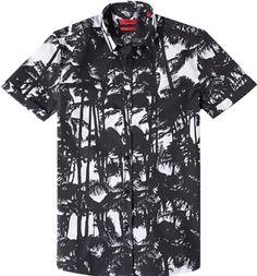 $245 HUGO BOSS RUNWAY RED LABEL HAWAIIAN PALM TREES TROPICAL PRINT SHIRT #HUGOBOSS #ButtonFront
