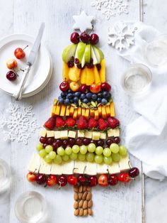 Fruit and Cheese Platter Christmas Tree Recipe | myfoodbook