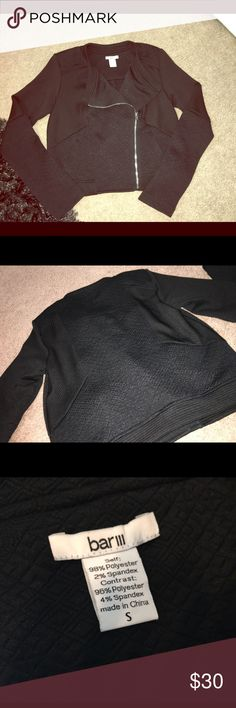 NWOT Bar III Black Moto Jacket W/ Asymmetrical Zip Adorable, brand new, comfortable moto jacket! Can easily be dressed up or down. Different textures on the jacket are super unique and it has a great stretch to it! Size small, true to size!!          🚫no trades 📮ships within 24 hours of purchase! 🔴PRICE IS FIRM UNLESS BUNDLED💕💕 Bar III Jackets & Coats Blazers