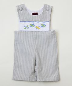 Loving this Gray Smocked Airplane Shortalls - Infant & Toddler on #zulily! #zulilyfinds