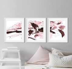 Set of 3 Prints Abstract Art Prints Large Wall Art Blush Burgundy Walls, Grand Art Mural, Pink Wall Art, Buy Art Online, Art Abstrait, Pink Walls, Large Wall Art, Wall Collage, Fine Art Paper