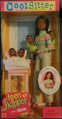 1998 Barbie Cool Sitter TEEN SKIPPER Doll with Poseable Arms - w 4 Babies Quadruple the Babysitting Fun by Mattel - Bassinet Baby Carrier NRFB AA AFRICAN AMERICAN  #Mattel