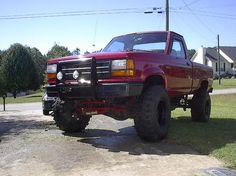 red lifted Ford Ranger Truck, Ranger 4x4, Ford Trucks, Offroad, Badass, Monster Trucks, Child, Nice, Vehicles