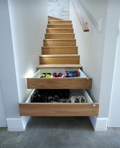 Hidden Storage Idea-use the space on your stairs!