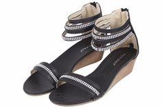 New Womens Ladies Wedge Heel Diamante Sandals Low Flat Strap Summer Beach Shoes