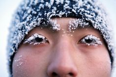 A Chinese soldier's eyelashes are covered with frost during physical training in minus 30 degrees Celsius weather in Heihe in northeast China's Heilongjiang province