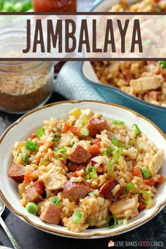 Enjoy the flavors of Louisiana with this onepan Jambalaya Perfectly seasoned rice pairs with sausage chicken and the Cajun Holy Trinity Cajun Recipes, Beef Recipes, Cooking Recipes, Rice Recipes, Yummy Recipes, Chicken Recipes, Creole Recipes, Chicken Flavors, Desert Recipes