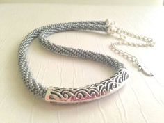 Silver Bar Necklace. Bar necklace. Filigree Bar Necklace. Bead Crochet Rope and…