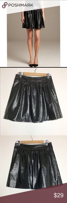 """BN Banana Republic perforated vegan leather skirt Super excellent pre-loved condition! My sister never got around to wearing but the tags were removed. She is slightly obsessed with vegan leather skirts and owned too many styles. Cute perforated detailed pattern. Side zipper and hook closure, completely lined. Approx 29"""" waist, 18"""" length. 100% polyurethane. ✅offers❌trades/PP make an offer on bundles Banana Republic Skirts"""