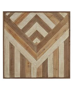 The graphic design created from tonal wood strips would fit seamlessly within a home with rustic décor or provide striking contrast within a more modern space.