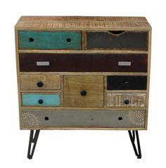 Timbergirl Suman Nine-Drawer Multi-Color Retro Storage Cabinet - Timbergirl