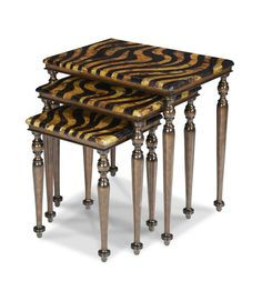 AICO Furniture - Discoveries 3 Piece Zebra Nesting Table Set - ACF-NST-CPTN-004
