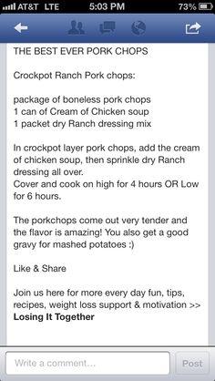Crockpot Ranch Pork chops
