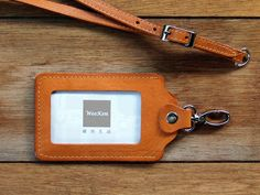 weekenlife - Leather ID holder with lanyard. Leather ID card holders, Leather ID badge cover. Leather card case(Custom Name)- Classic Tan by weekenlife on Etsy Leather Luggage Tags, Leather Card Case, Id Holder, Badge Holders, Card Holders, Leather Art, Leather Design, Employees Card, Leather Wallet Pattern