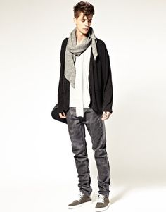 Enlarge ASOS BLACK Oversized Jersey Cardigan