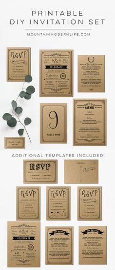 Planning a rustic or vintage-inspired wedding? Instantly download this printable DIY wedding invitation set and print as many copies as you need! MountainModernLife.com