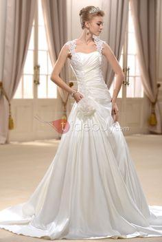 エレガントなラインストラップチャペルトレーンウェディングドレス