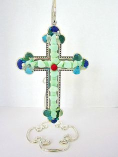 Sea Glass Cross wall hanging standing cross on sterling silver. $70.00, via Etsy.