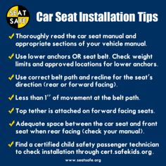 Car Seat Safety installation tips