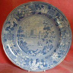 Antique c.1830 Belvoir Castle Blue and White Transferware