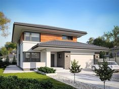 Karo storey house design with an area 188 with a spacious garage, with a dill roof . - Karo storey house design with an area 188 with a spacious garage, an envelope roof, with a terra -