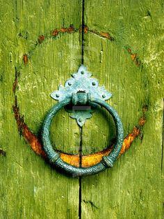 knocker, door pull Old Doors, Windows And Doors, Front Doors, Door Knobs And Knockers, Brass Door Handles, Door Detail, Unique Doors, Door Furniture, Shades Of Green