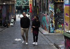 This is a photo taken front on to show the surrounding as well as the street art. HOSIER LANE