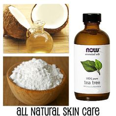 All Natural Skin Care. Facial Scrub: 1/4 tsp. of baking soda and add a couple drops of Tea Tree Oil. Facial Moisturizer: Coconut Oil