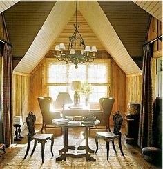 Ode to Southern Accents Southern Accents, Little Cabin, Mountain Living, Cabins In The Woods, Chandelier, Ceiling Lights, Rustic, Mirror, Lighting