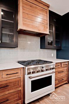 Dark Wood Kitchen Cabinets, Dark Wood Kitchens, Upper Cabinets, Home Kitchens, Updated Kitchen, New Kitchen, Kitchen Dining, Kitchen Things, Kitchen Redo