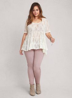 Plus Size Lace Babydoll Top, IVORY