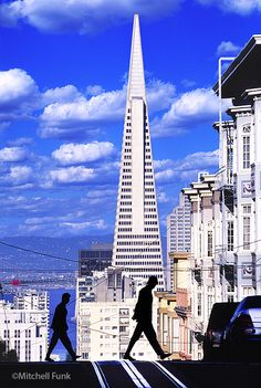 View From Russian Hill With Transamerica Pyramid And Clouds,  San Francisco By Mitchell Funk   www.mitchellfunk.com
